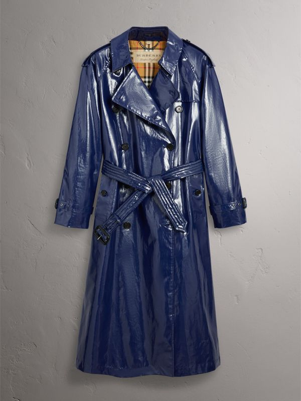 Laminated Cotton Trench Coat in Navy - Women | Burberry - cell image 3