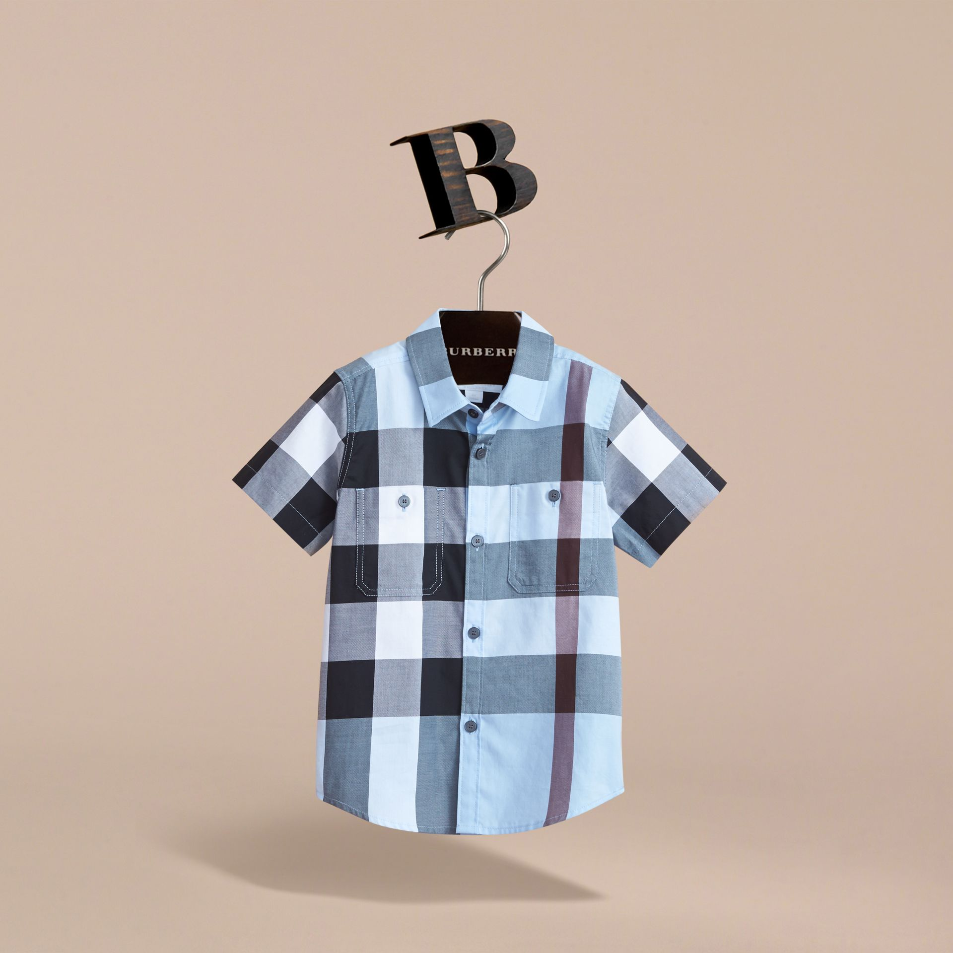Short-sleeve Check Cotton Shirt in Cornflower Blue - Boy | Burberry Canada - gallery image 3