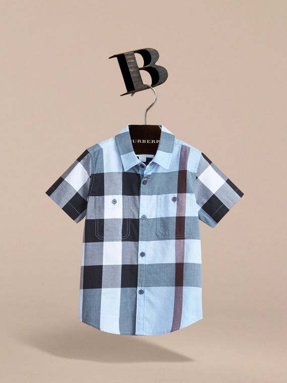 Short-sleeve Check Cotton Shirt in Cornflower Blue - cell image 2
