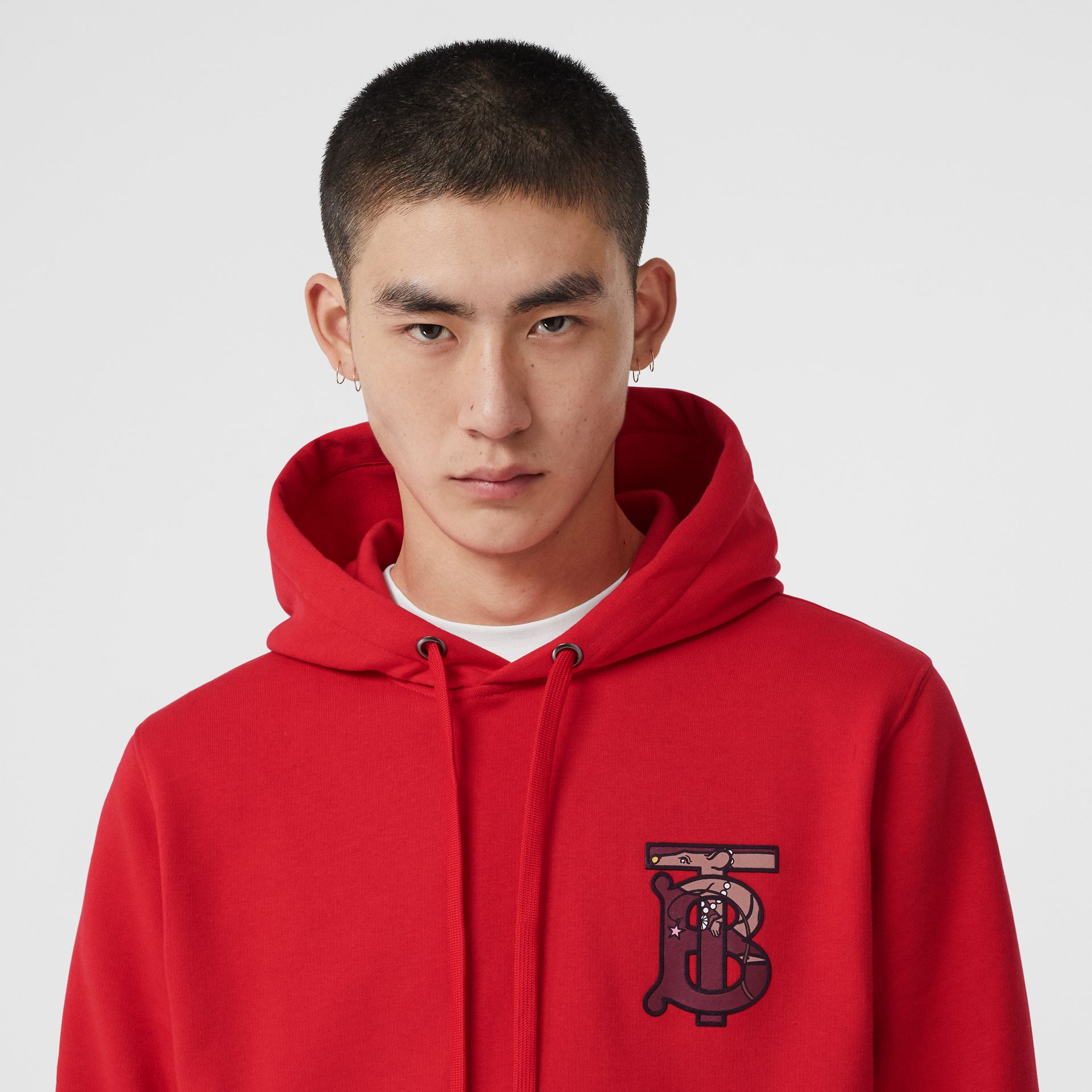 Monogram Motif Cotton Oversized Hoodie in Bright Red - Men | Burberry United Kingdom - gallery image 5