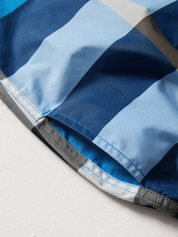 Check Swim Shorts in Cerulean Blue | Burberry - cell image 1