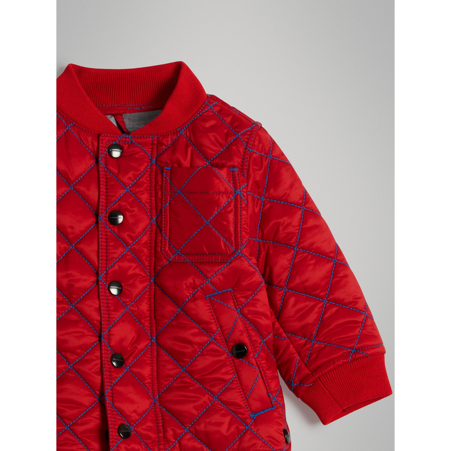 Topstitched Quilted Jacket in Bright Orange Red - Children | Burberry - gallery image 4