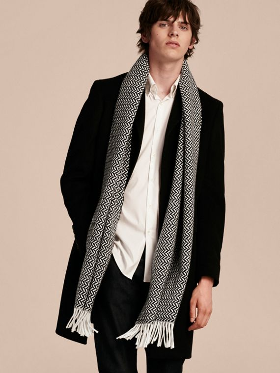 Black/white Chunky Herringbone Wool Cashmere Scarf - cell image 2