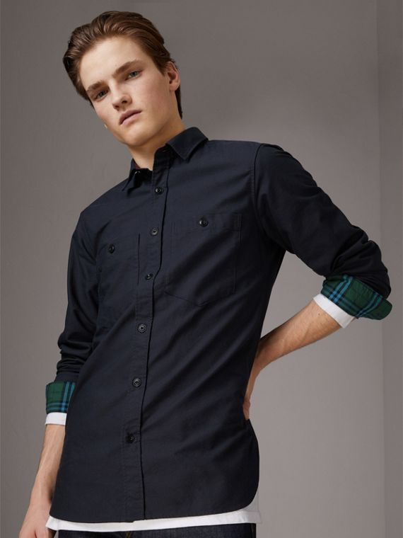 Cotton Oxford Shirt in Navy Blue