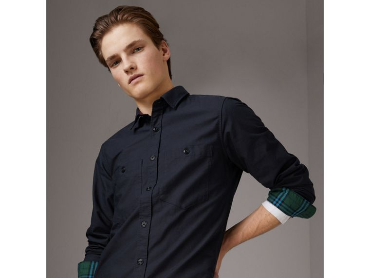 Cotton Oxford Shirt in Navy Blue - Men | Burberry - cell image 4