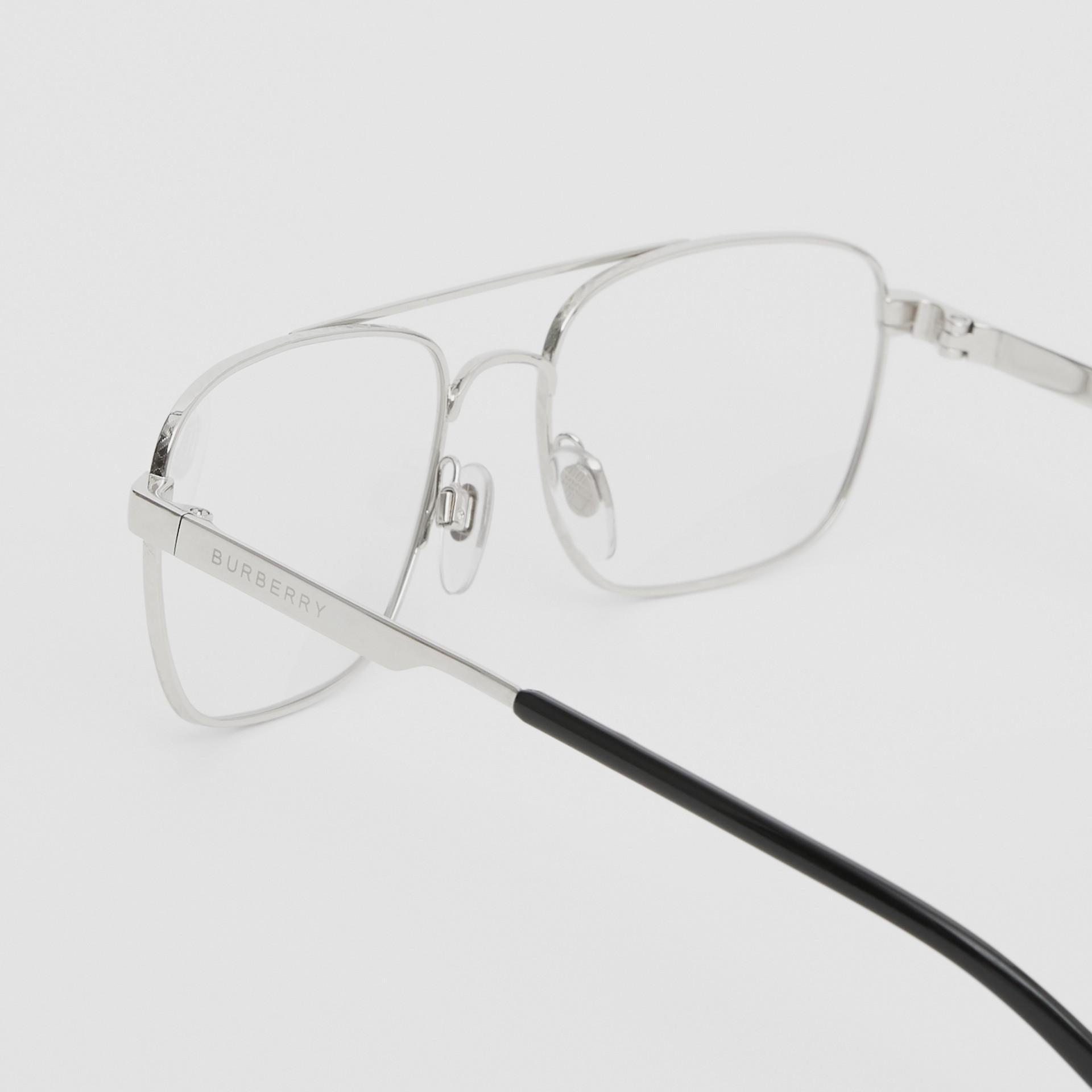 Rectangular Navigator Optical Frames in Silver | Burberry Canada - gallery image 1