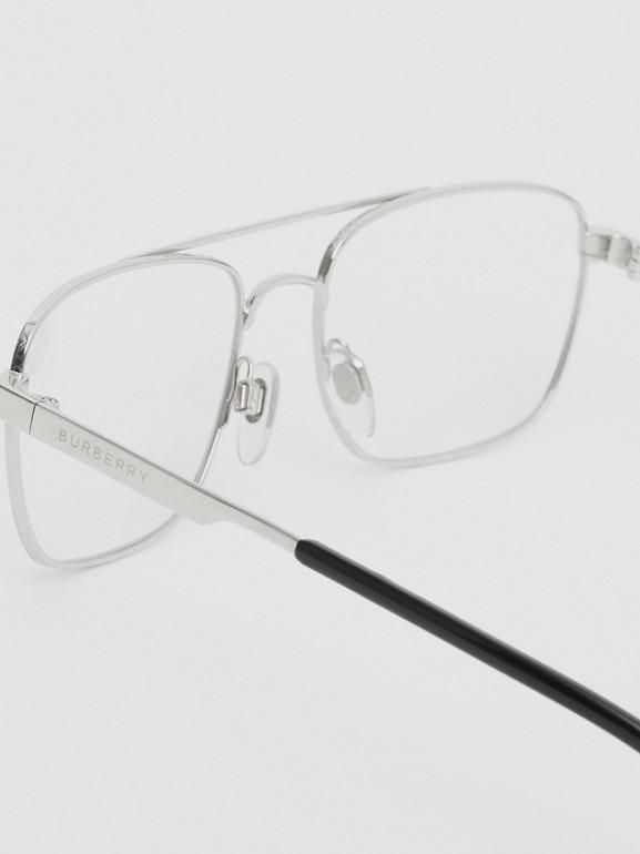 Rectangular Navigator Optical Frames in Silver | Burberry - cell image 1