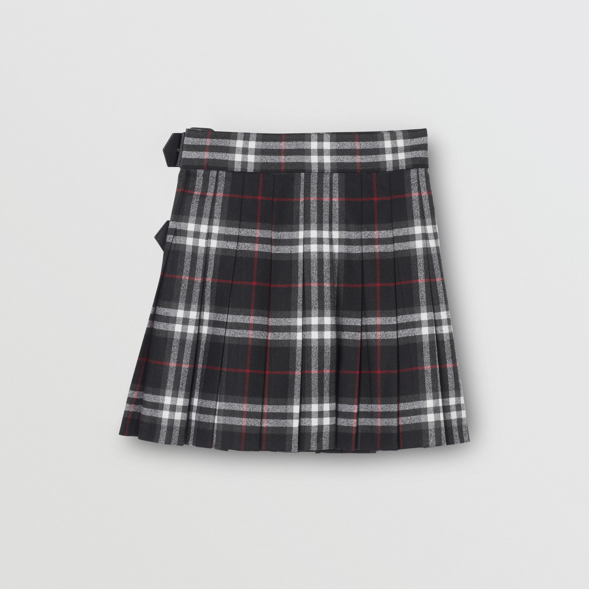 Lambskin Detail Vintage Check Wool Kilt in Black | Burberry - gallery image 3