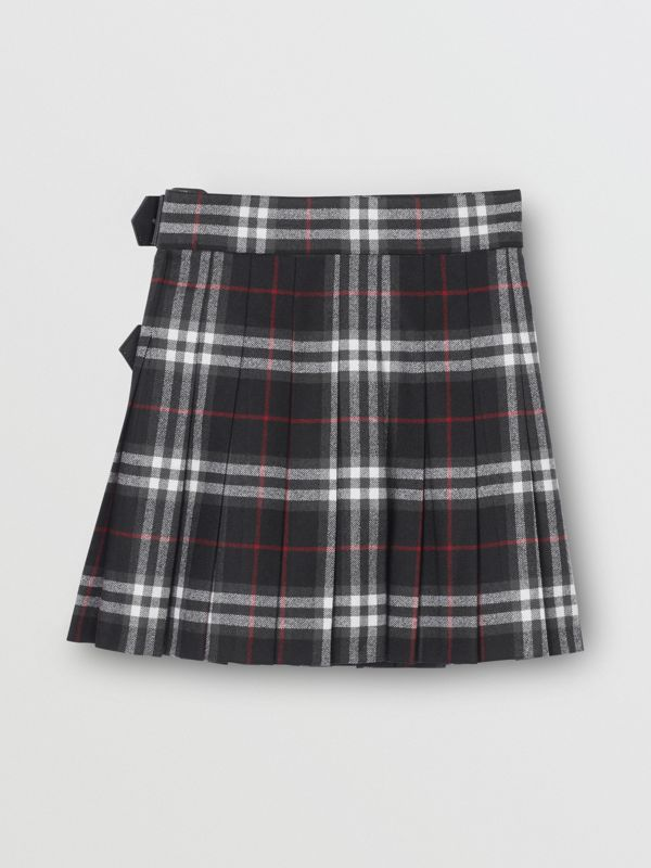 Kilt in lana con motivo Vintage check e dettagli in pelle di agnello (Nero) | Burberry - cell image 3