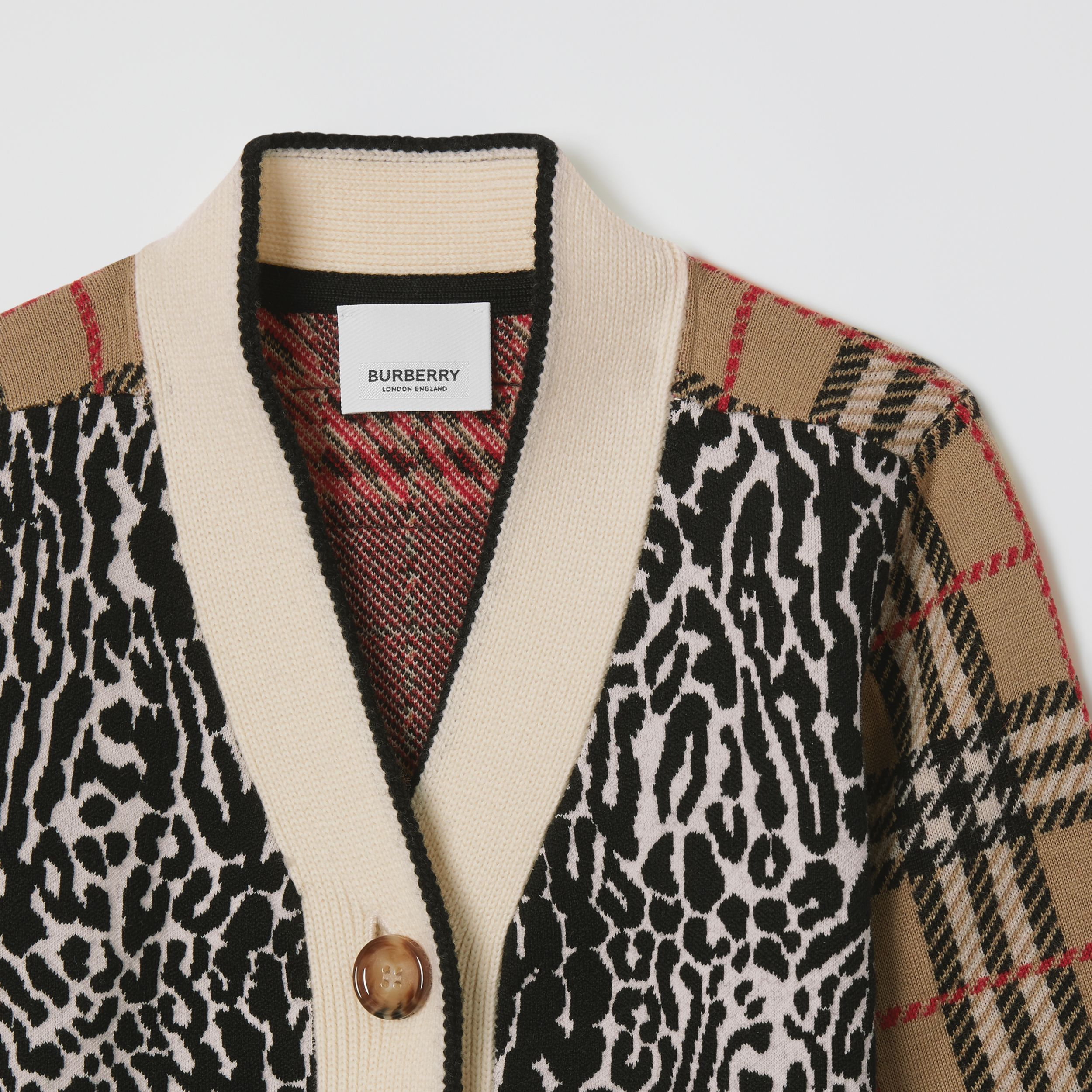 Check and Leopard Merino Wool Jacquard Cardigan in Print | Burberry - 4