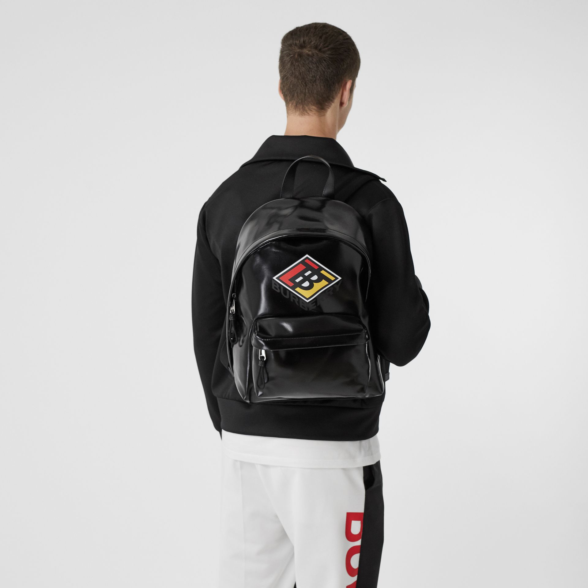 Logo Graphic Coated Canvas Backpack in Black | Burberry Hong Kong S.A.R - gallery image 2
