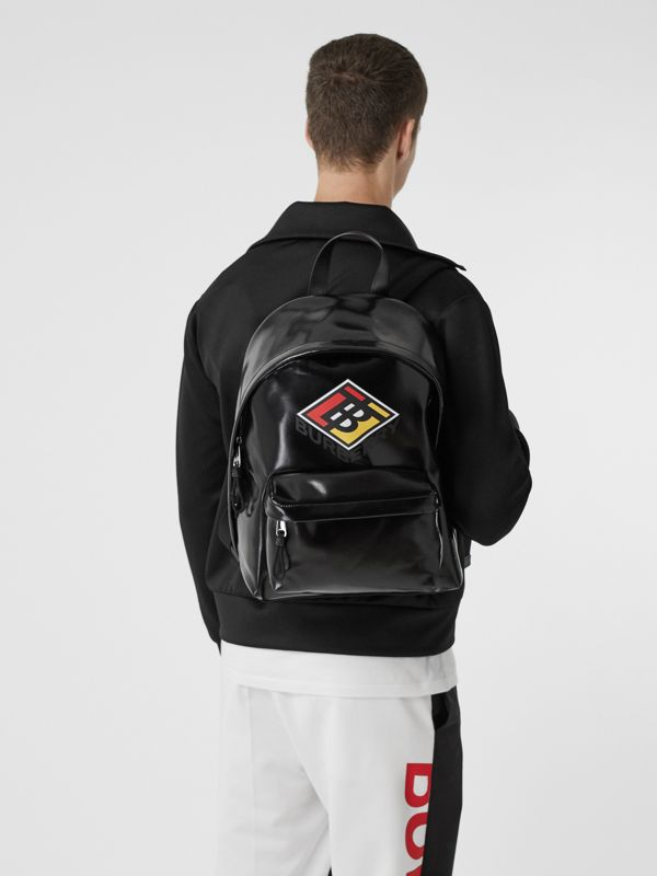 Logo Graphic Coated Canvas Backpack in Black | Burberry Hong Kong S.A.R - cell image 2