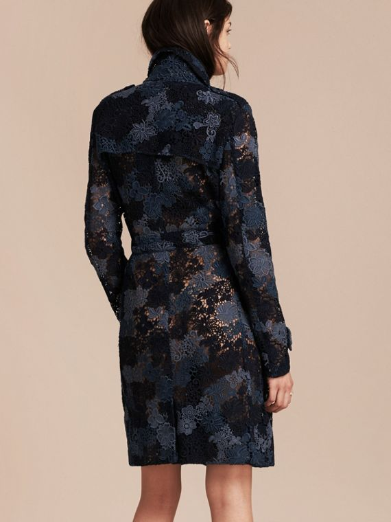 Ink blue Italian Macramé Lace Trench Coat - cell image 2