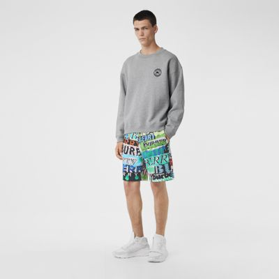 Tag Print Cotton Shorts by Burberry