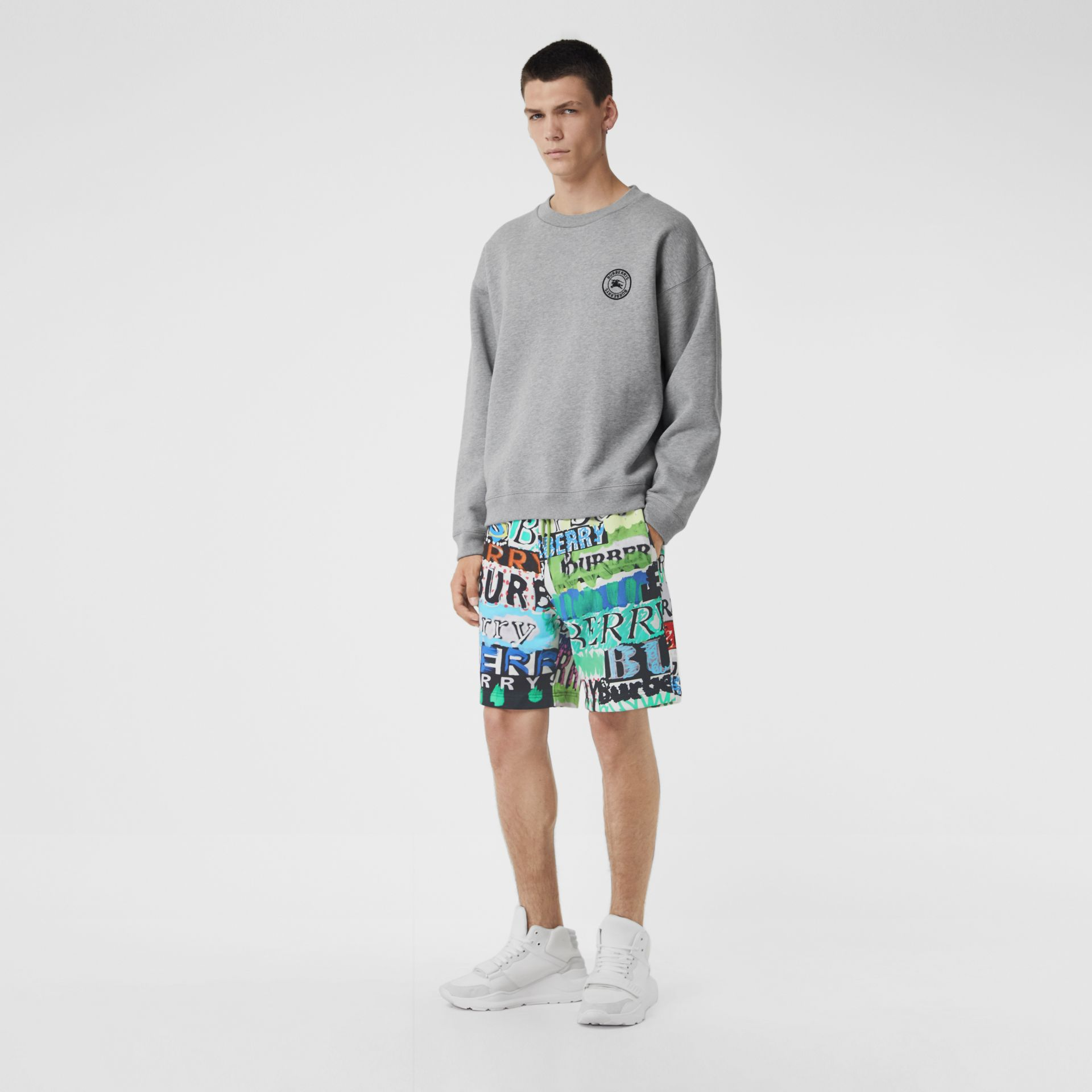 Tag Print Cotton Shorts in Bright Green - Men | Burberry United States - gallery image 0
