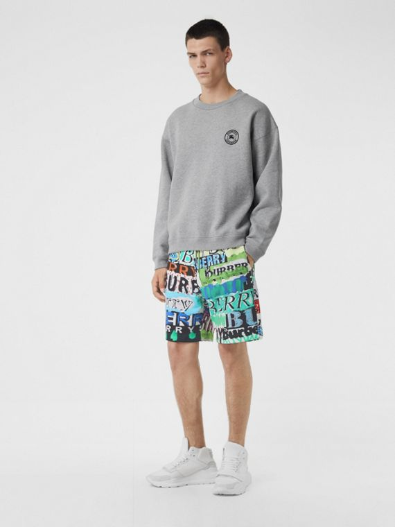Tag Print Cotton Shorts in Bright Green