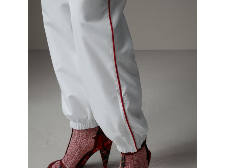 Contrast Piping Poplin Track Pants in White - Women | Burberry - cell image 1