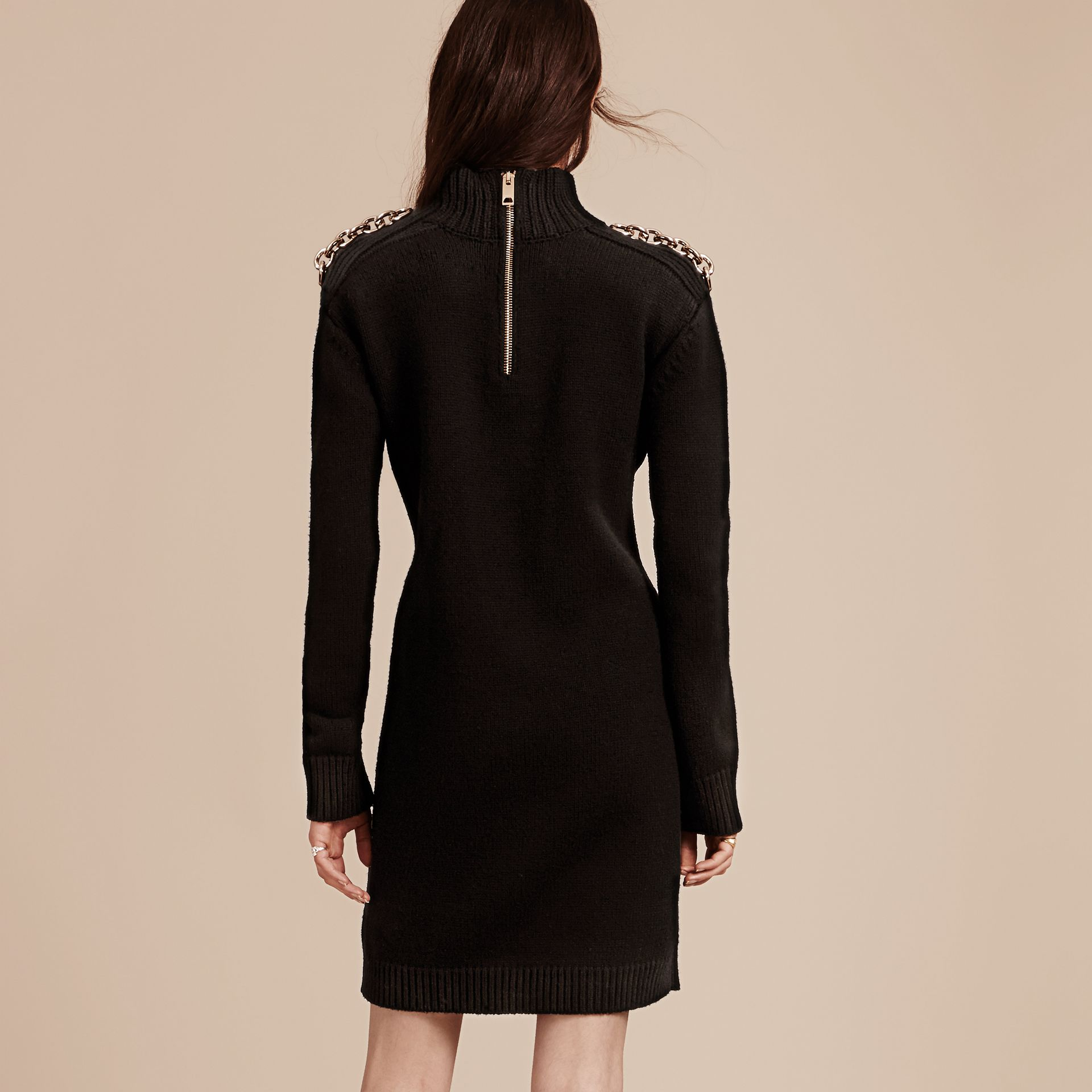 Black Chain Detail Wool Cashmere High-neck Dress Black - gallery image 3