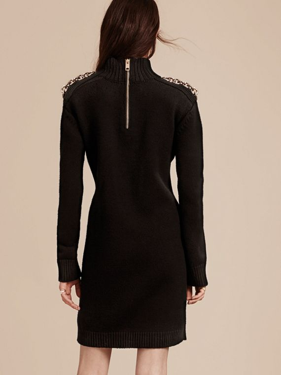 Black Chain Detail Wool Cashmere High-neck Dress - cell image 2