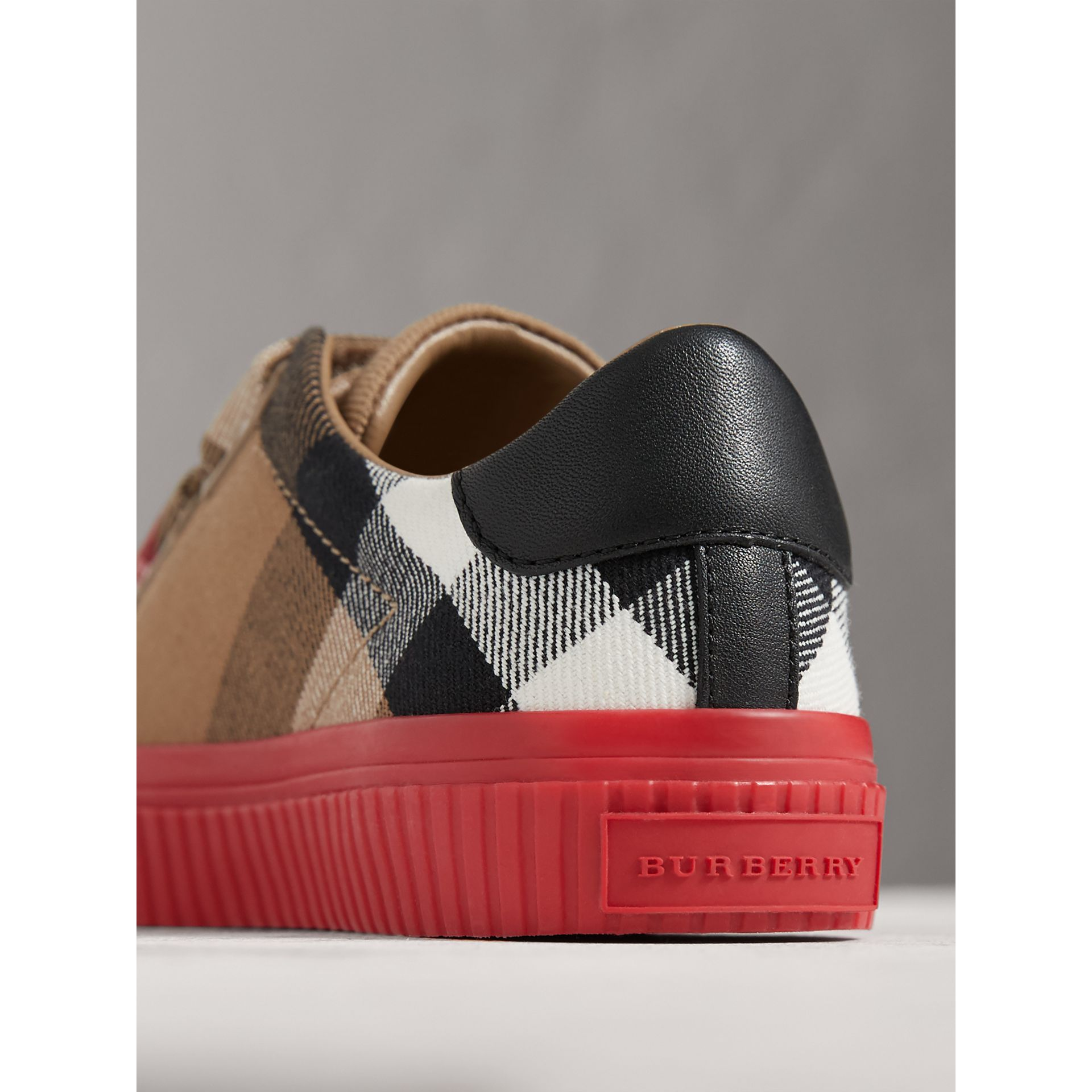House Check and Leather Sneakers in Classic/parade Red | Burberry Australia - gallery image 2