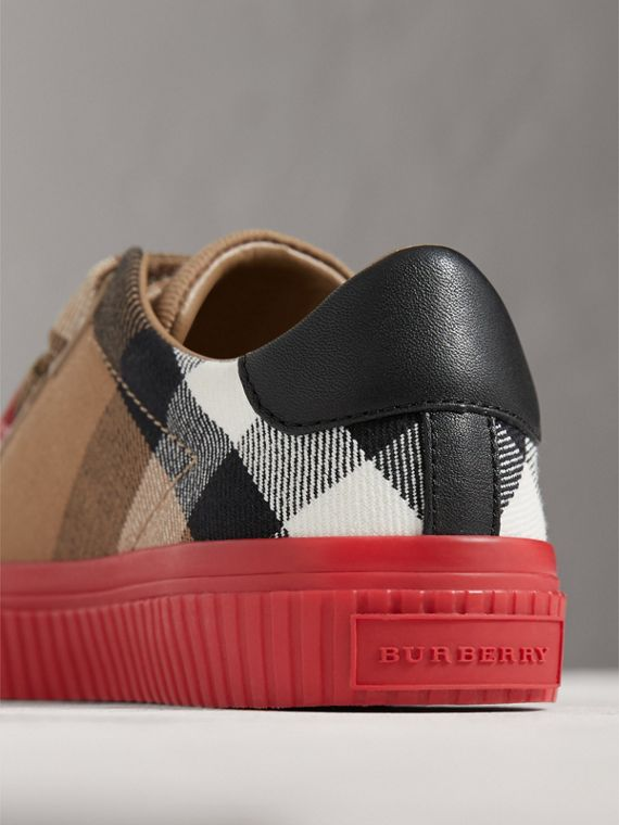 House Check and Leather Trainers in Classic/parade Red | Burberry - cell image 2
