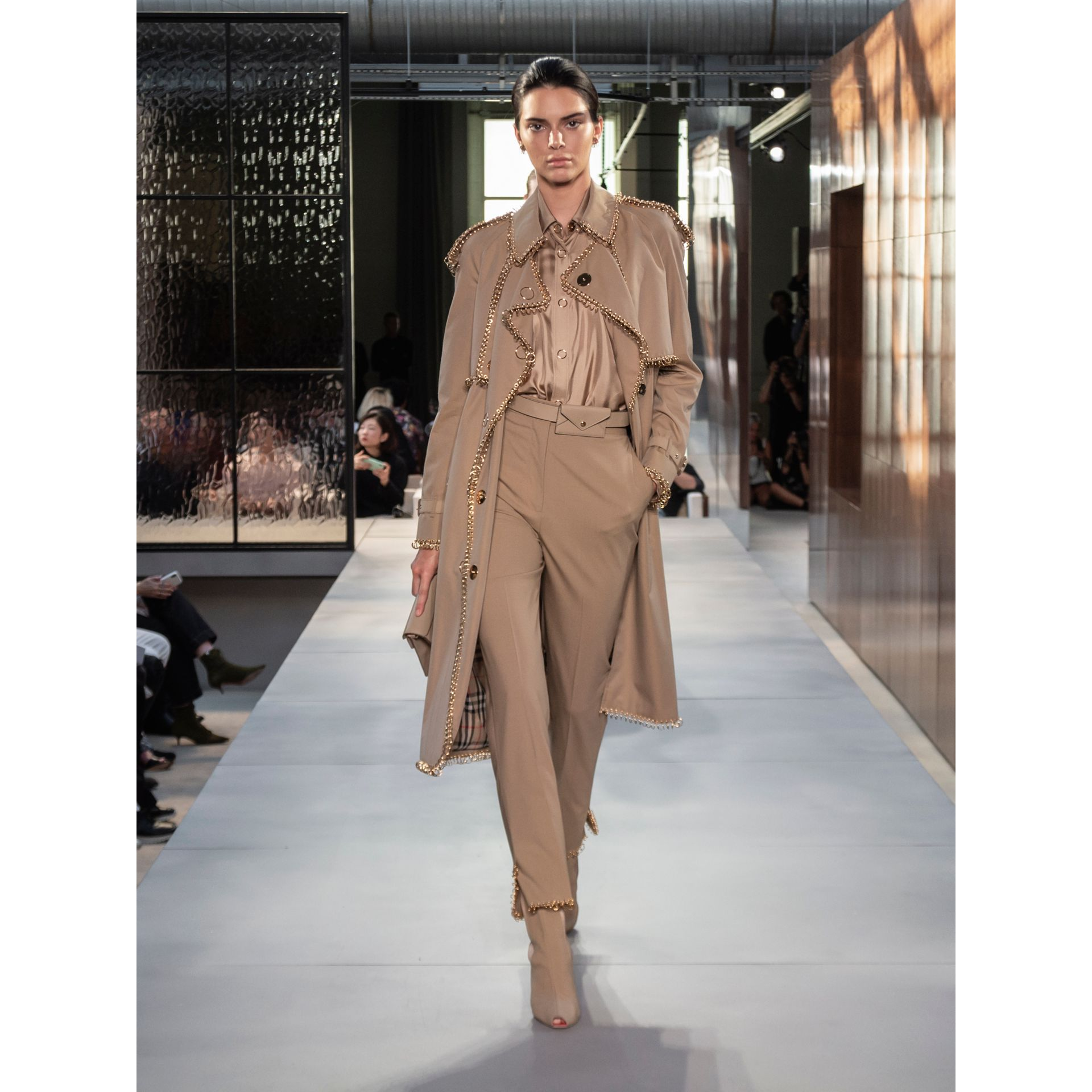 Ring-pierced Cotton Gabardine Trench Coat in Pale Honey - Women | Burberry United Kingdom - gallery image 8