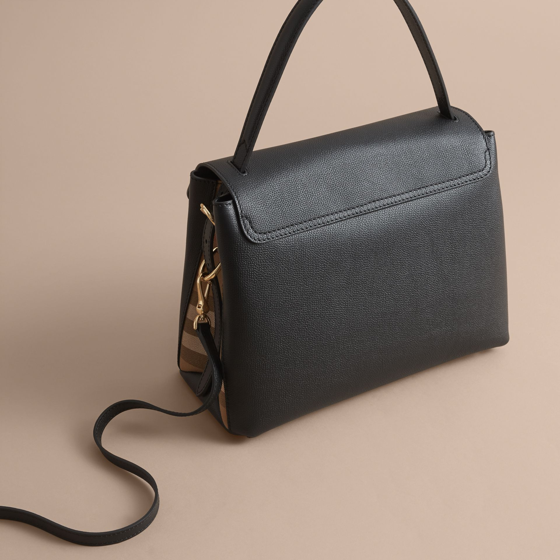 Medium Grainy Leather and House Check Tote Bag in Black - Women | Burberry - gallery image 5