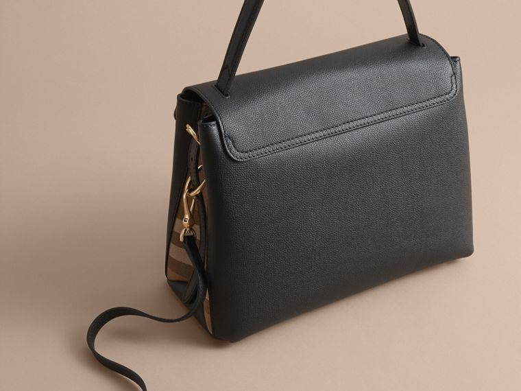 Medium Grainy Leather and House Check Tote Bag in Black - Women | Burberry United Kingdom - cell image 4