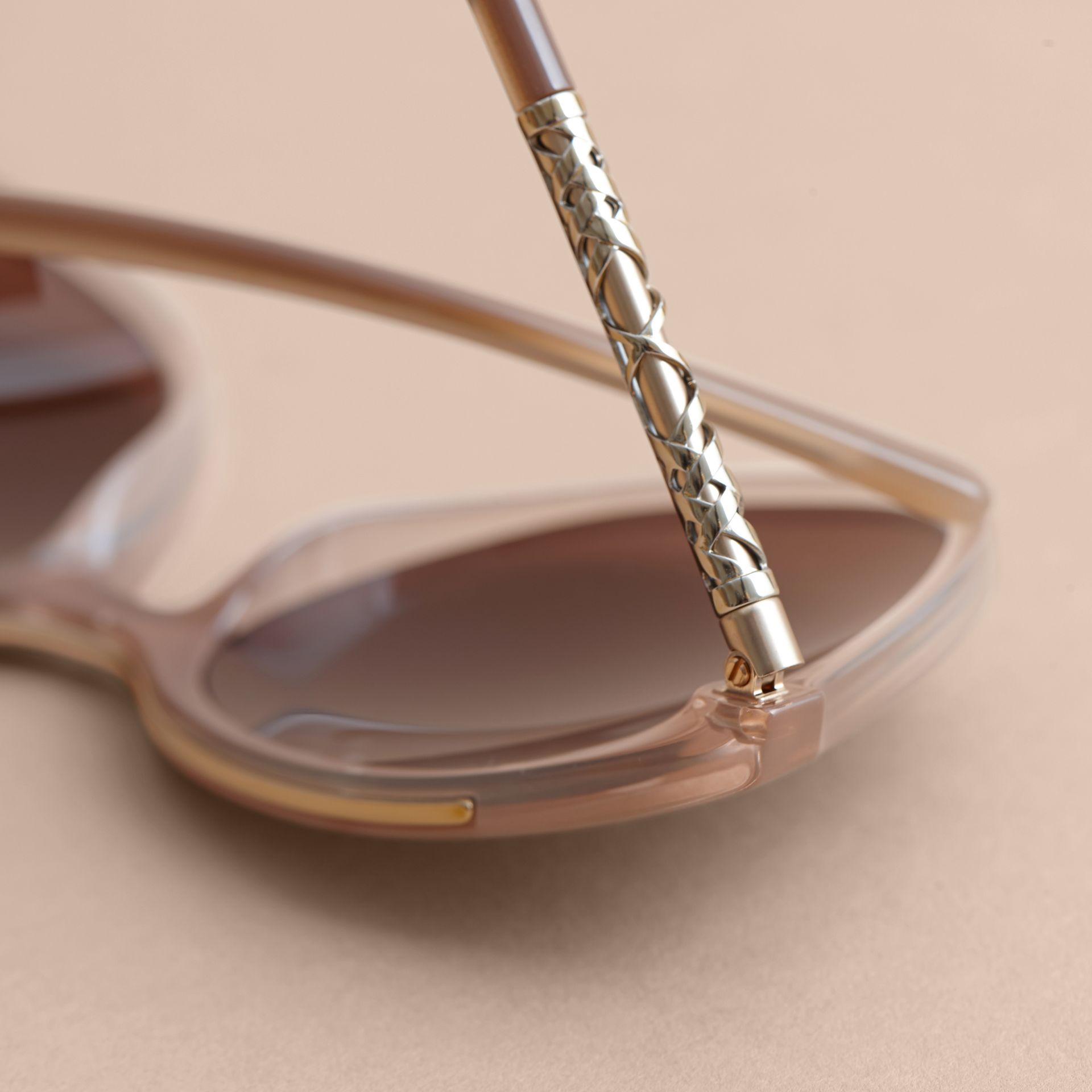 Check Detail Square Frame Sunglasses Trench - gallery image 2