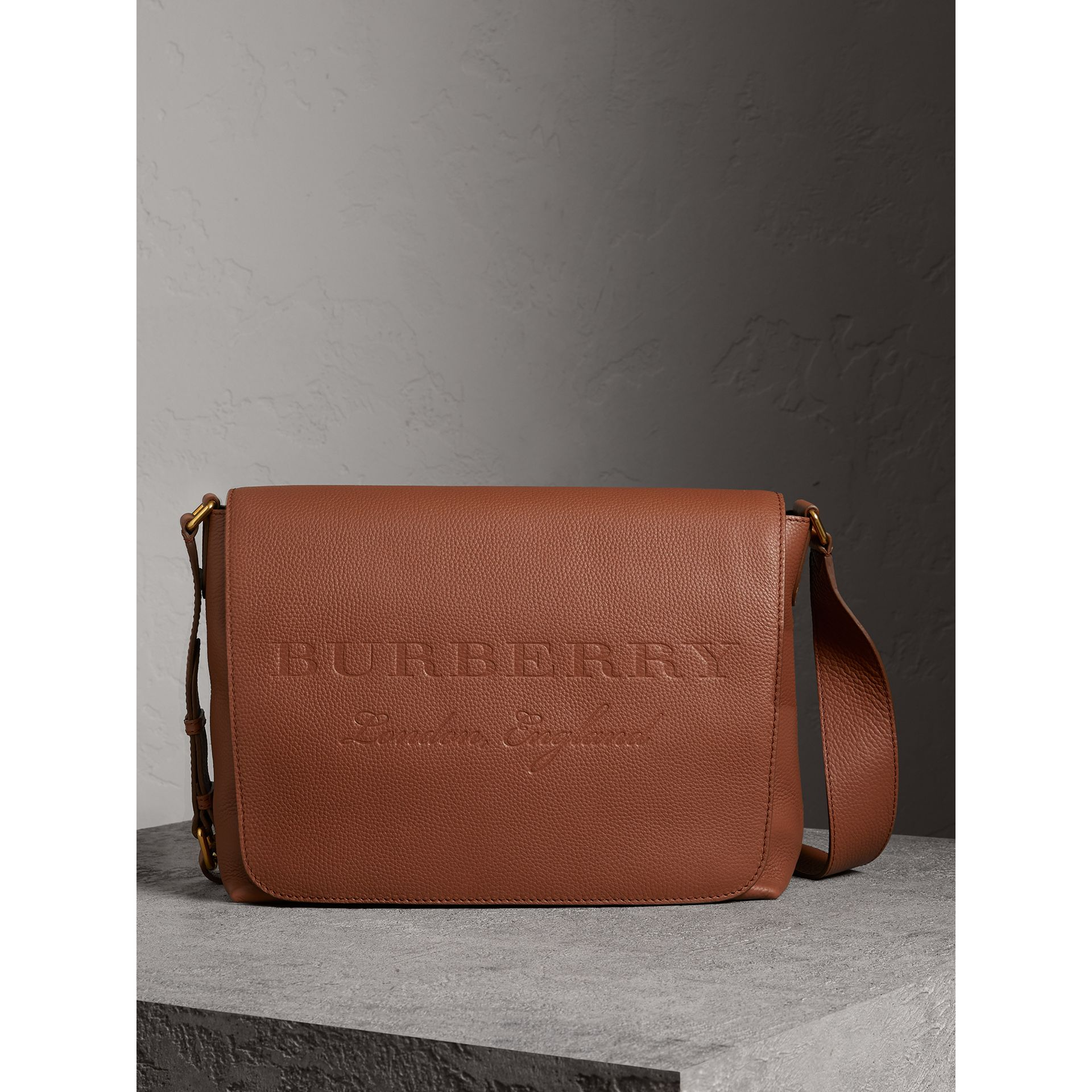 Large Embossed Leather Messenger Bag in Chestnut Brown | Burberry - gallery image 1