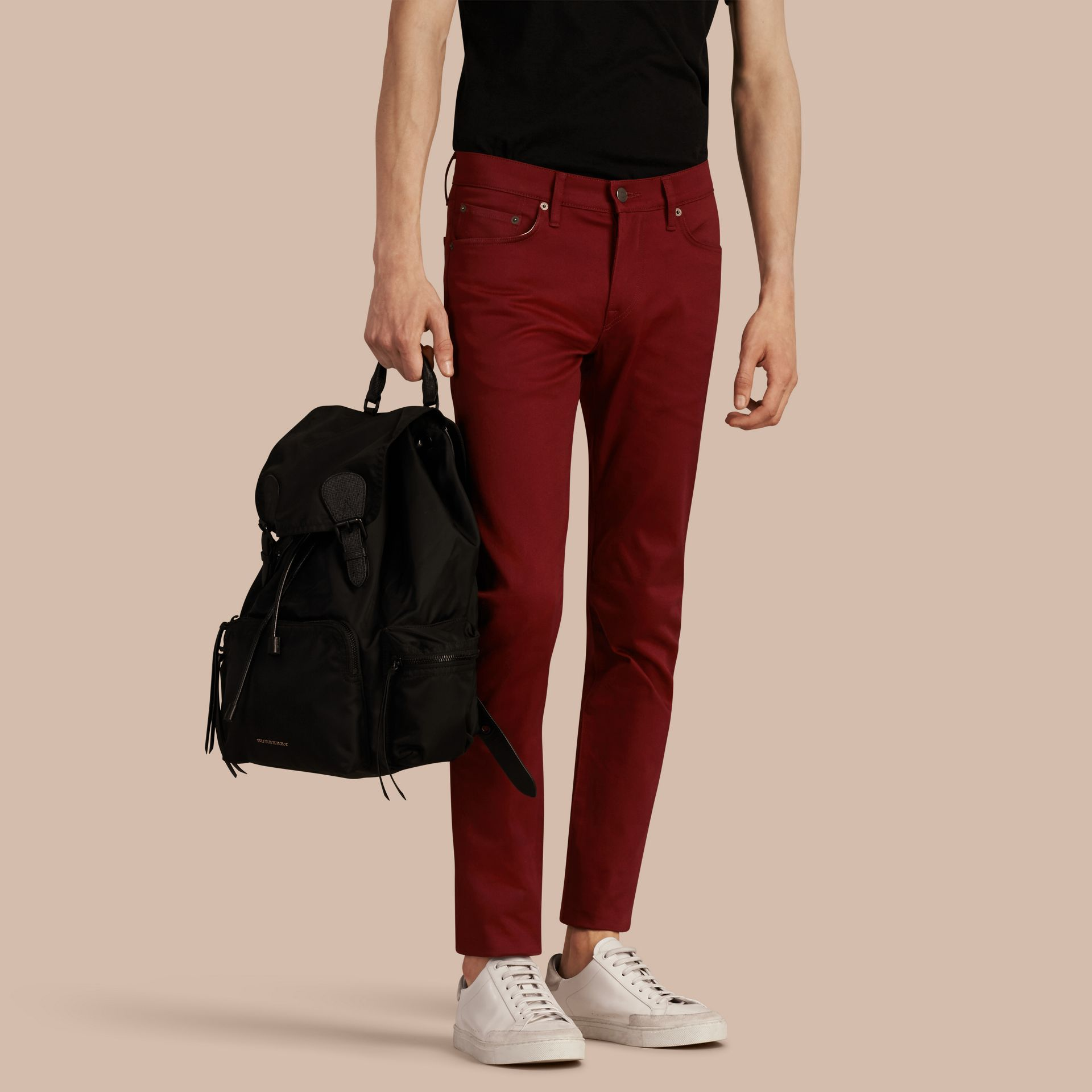 Dark red Slim Fit Japanese Stretch Denim Jeans Dark Red - gallery image 1