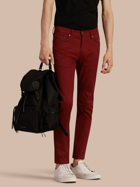 Slim Fit Japanese Stretch Denim Jeans Dark Red