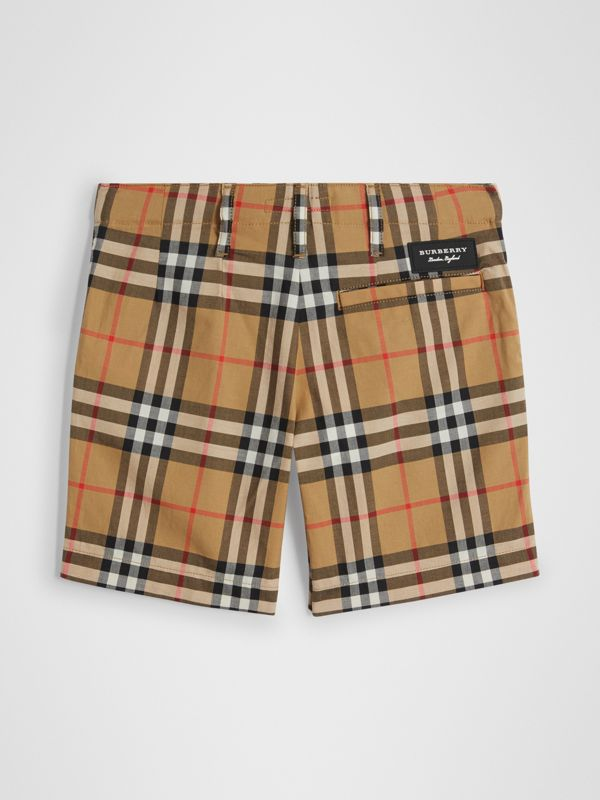 Vintage Check Cotton Tailored Shorts in Antique Yellow | Burberry - cell image 3