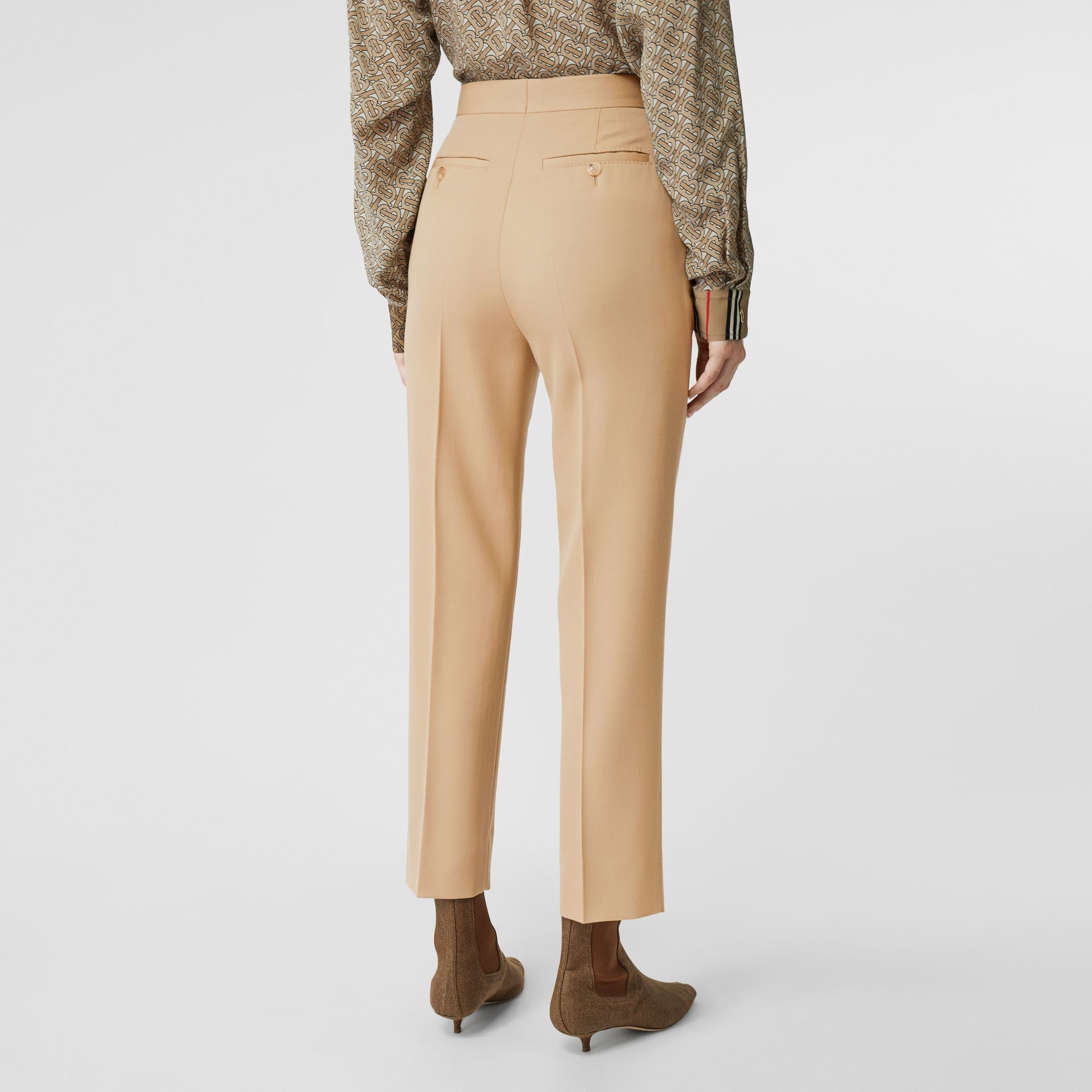Wool Tailored Trousers in Honey - Women | Burberry - gallery image 2