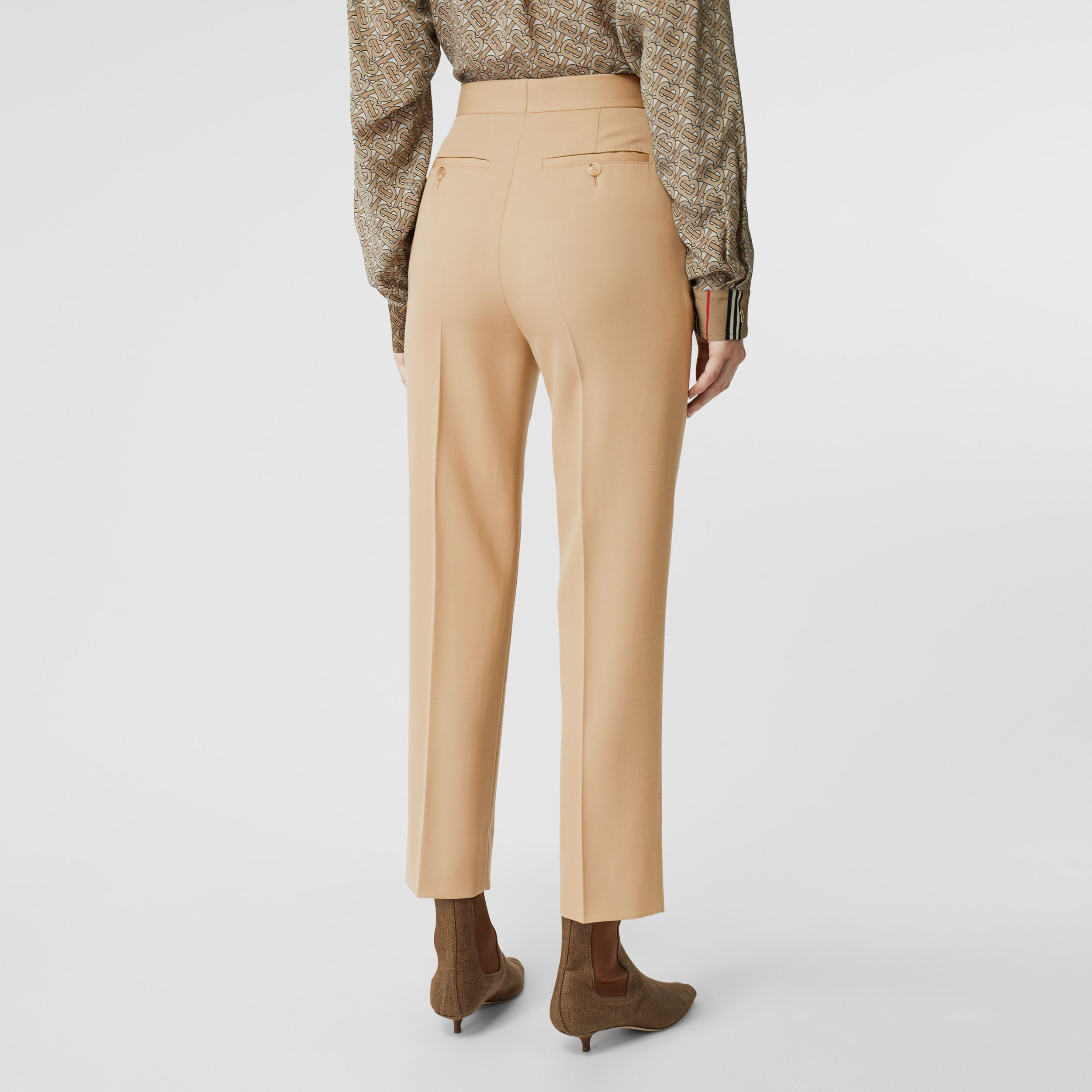 Wool Tailored Trousers in Honey - Women | Burberry - 3