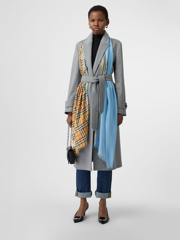 Vintage Check and Colour Block Wool Silk Scarf in Pale Blue Carbon | Burberry Canada - cell image 2