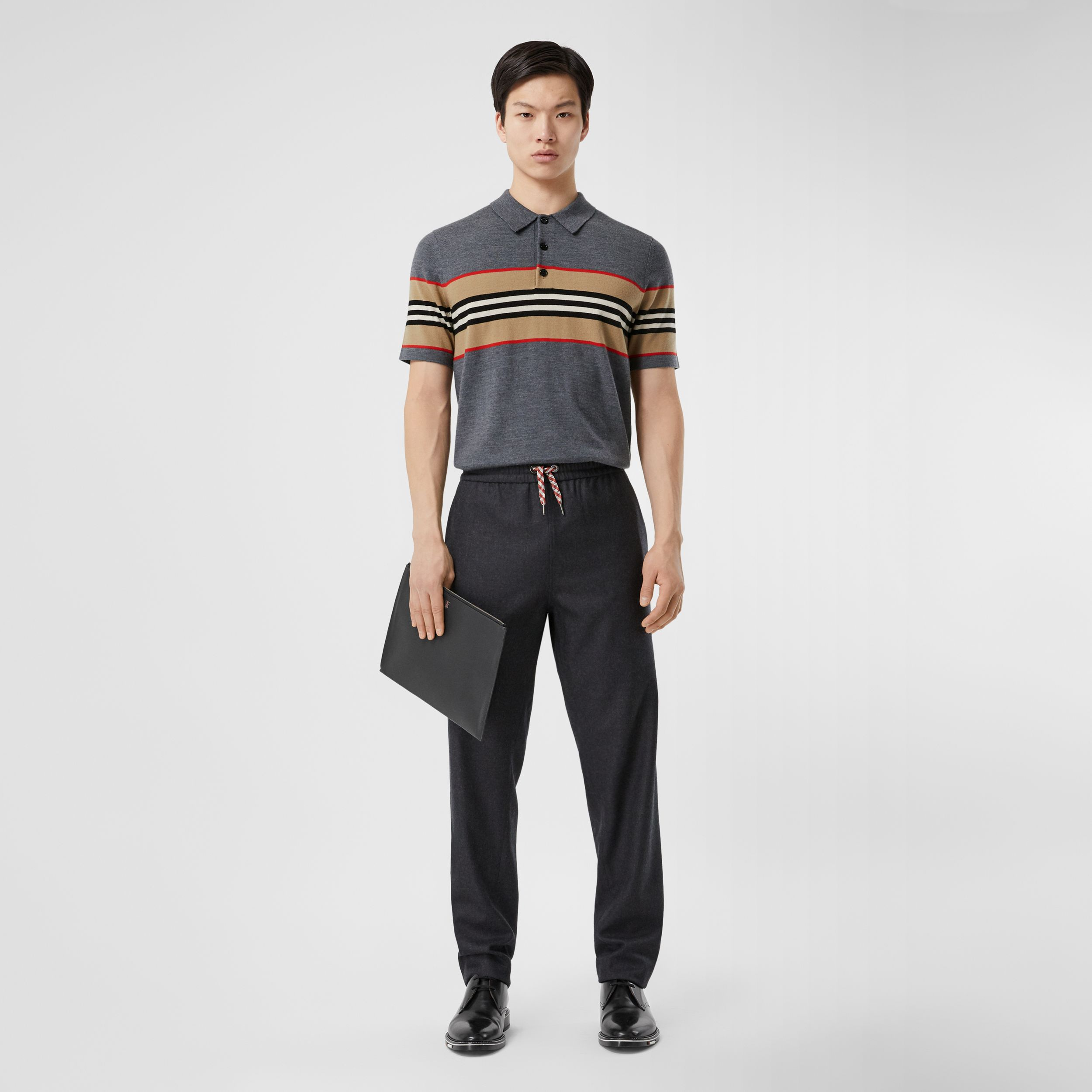 Icon Stripe Detail Merino Wool Polo Shirt in Dark Grey Melange - Men | Burberry - 1