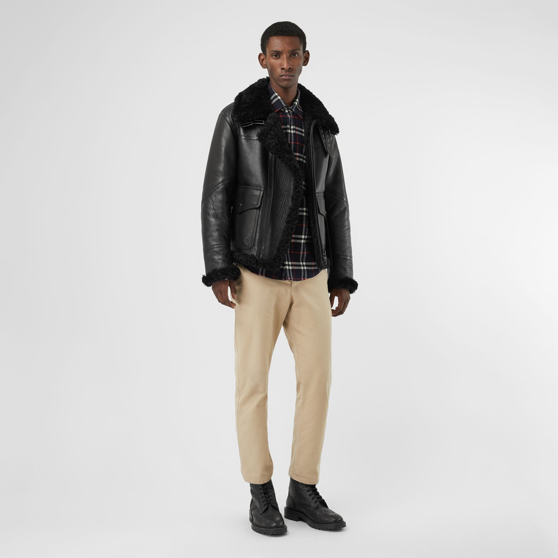 Shearling Aviator Jacket in Black - Men | Burberry United Kingdom - gallery image 0
