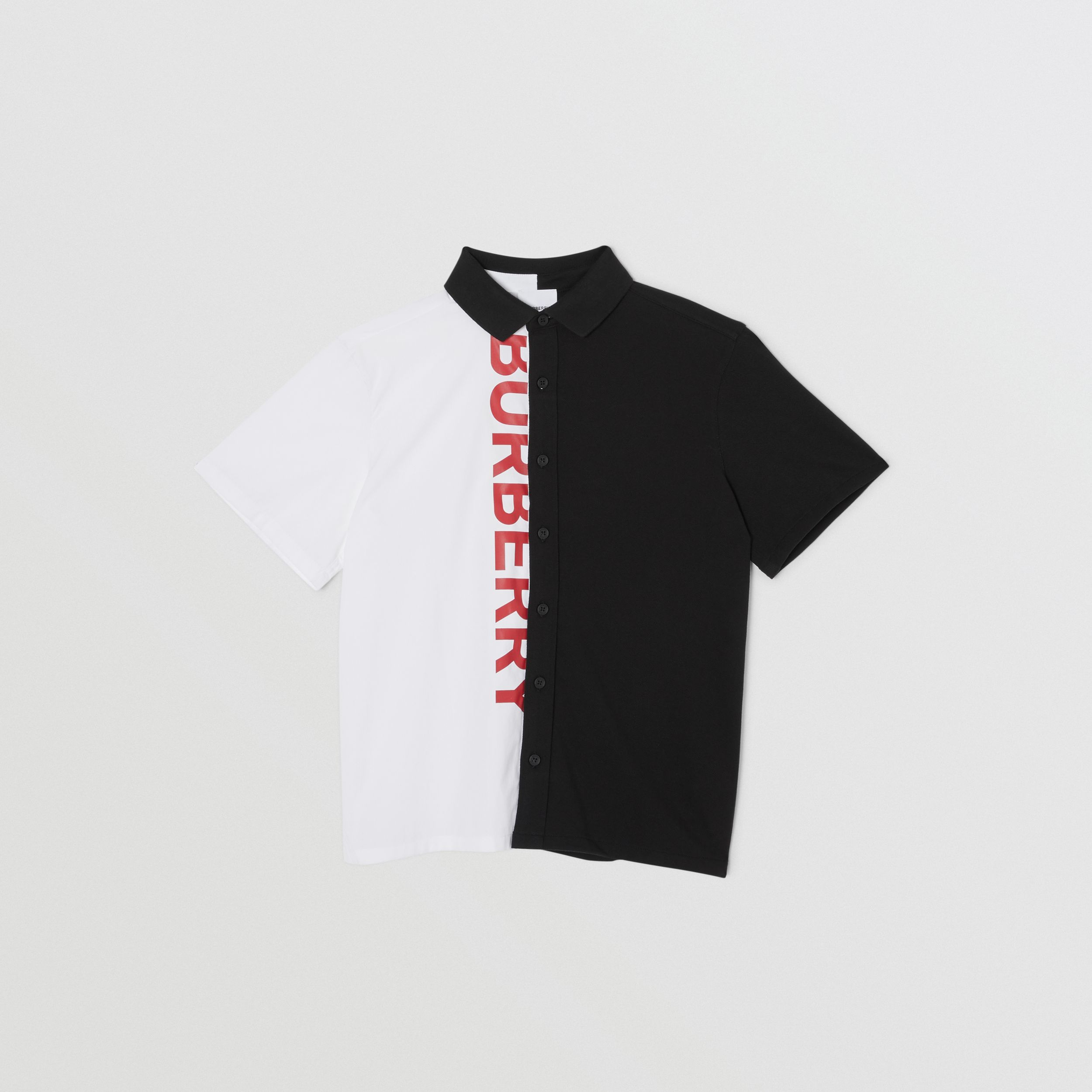 Short-sleeve Logo Print Two-tone Cotton Shirt in White | Burberry United States - 1