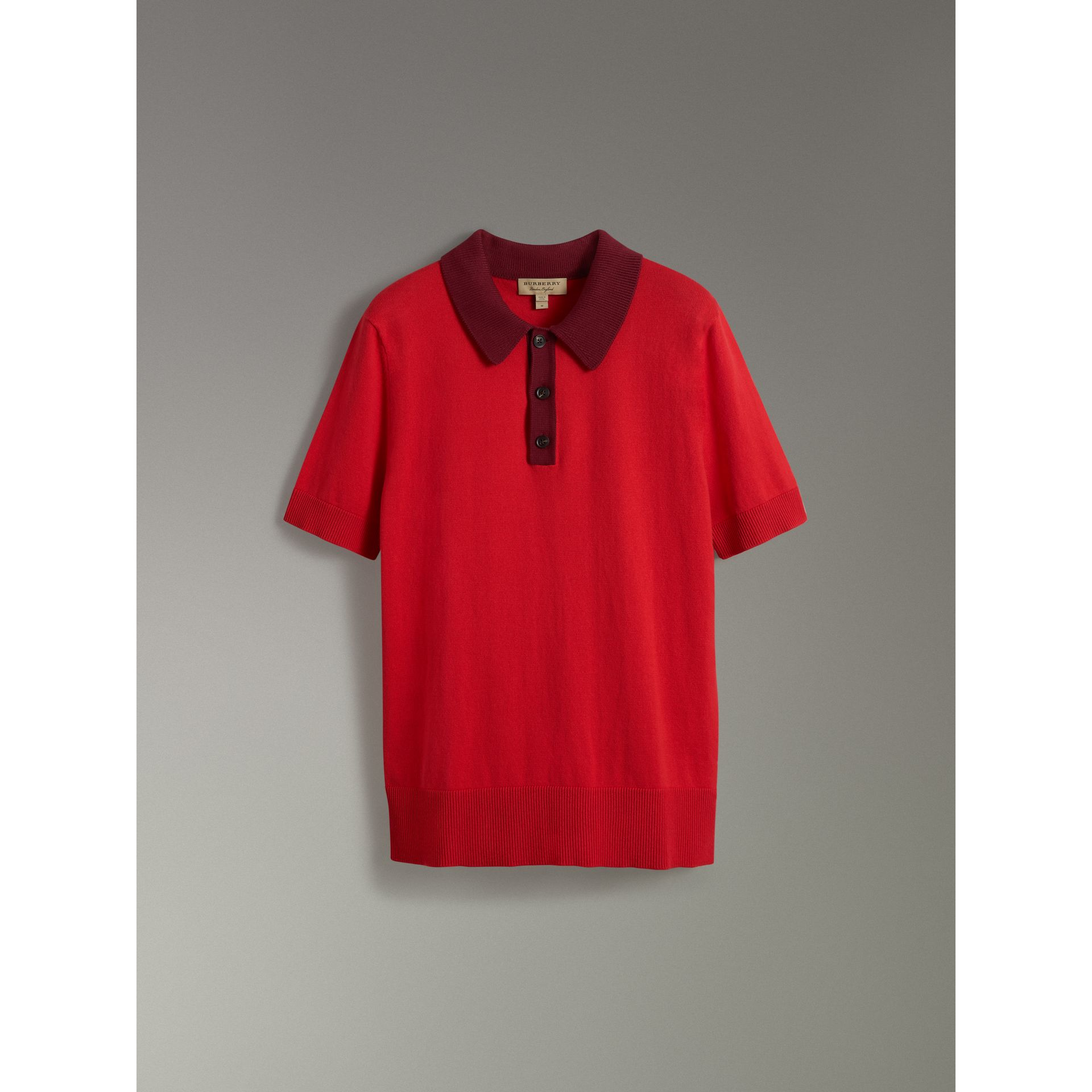 Two-tone Knitted Cotton Polo Shirt in Bright Red - Men | Burberry - gallery image 3