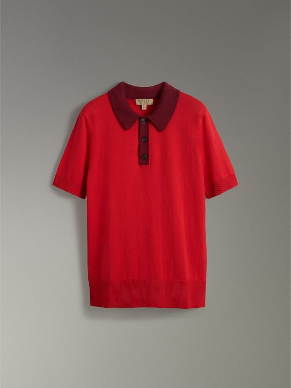 Two-tone Knitted Cotton Polo Shirt in Bright Red - Men | Burberry Australia - cell image 3