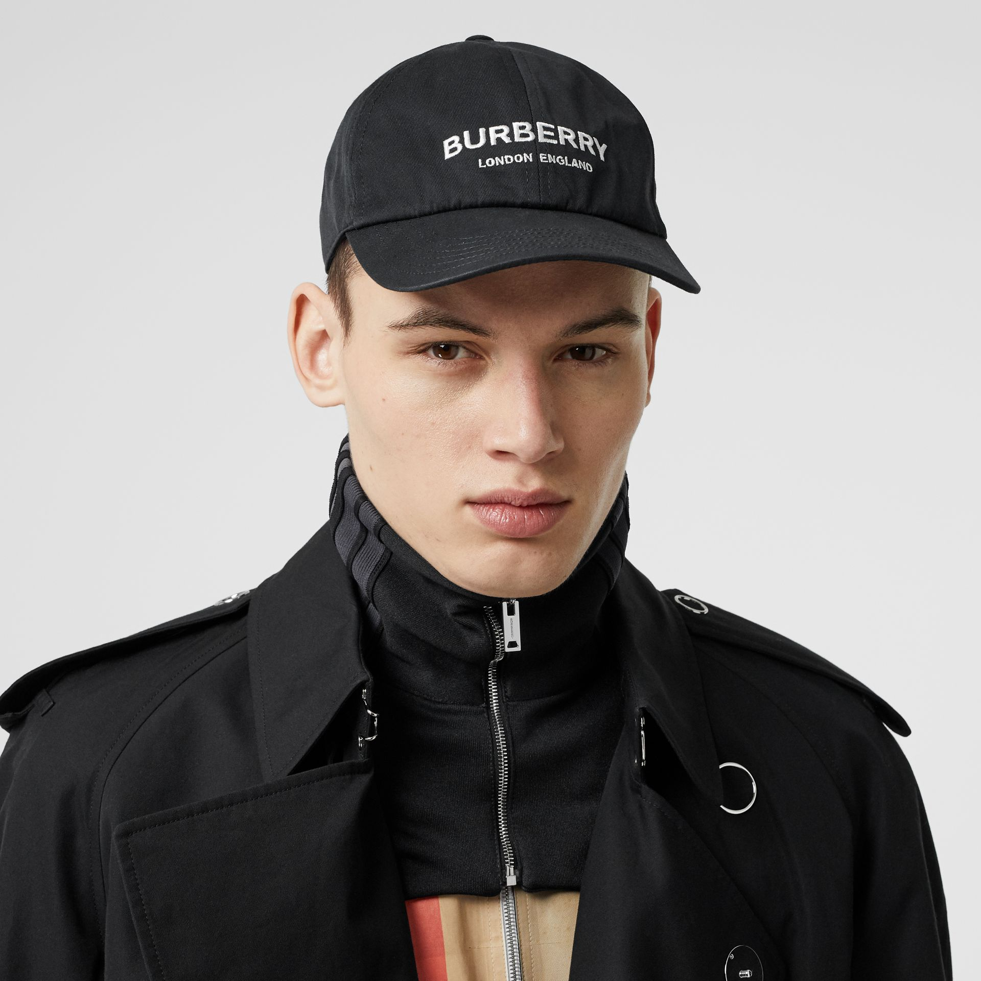 Embroidered Logo Baseball Cap in Black | Burberry Australia - gallery image 3