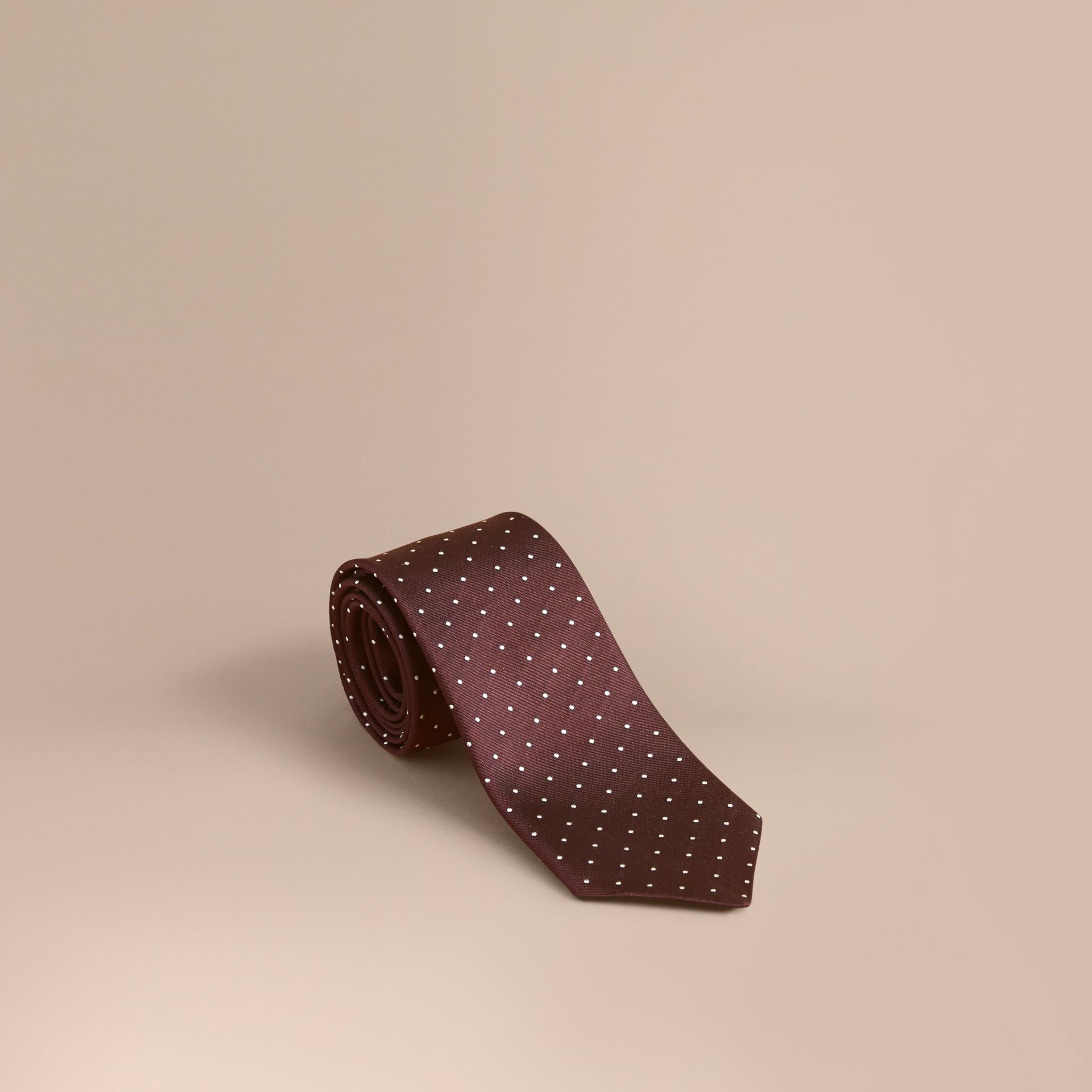 Modern Cut Polka Dot Silk Twill Tie - Men | Burberry - gallery image 1