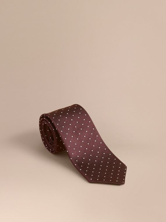 Modern Cut Polka Dot Silk Twill Tie