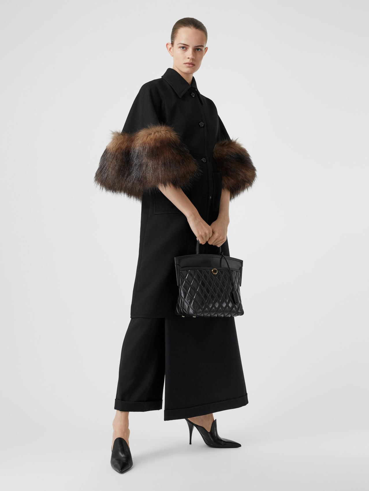 Faux Fur Trim Cape Detail Wool Blend Coat (Black)