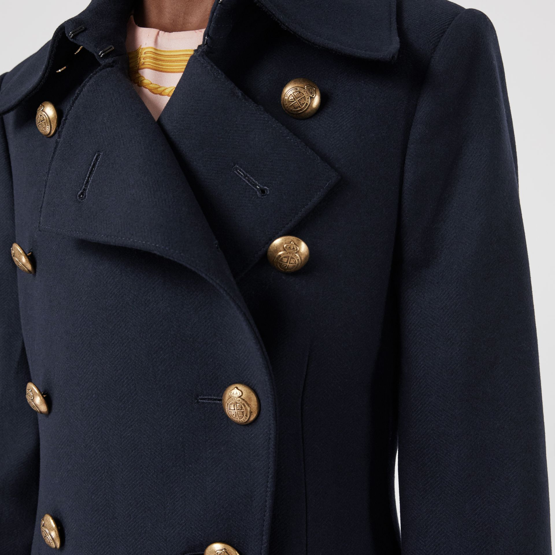 Double-breasted Wool Cashmere Blend Tailored Coat in Navy - Women | Burberry - gallery image 4