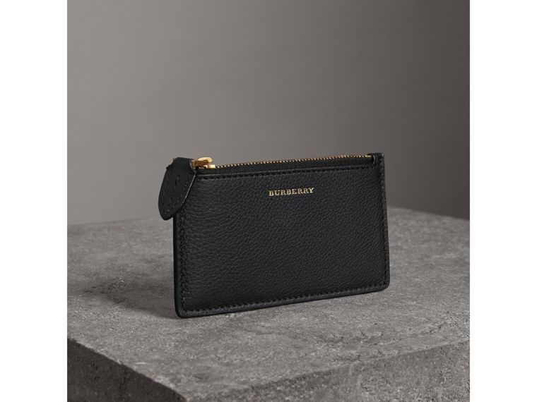 Two-tone Leather Zip Card Case in Black | Burberry - cell image 4