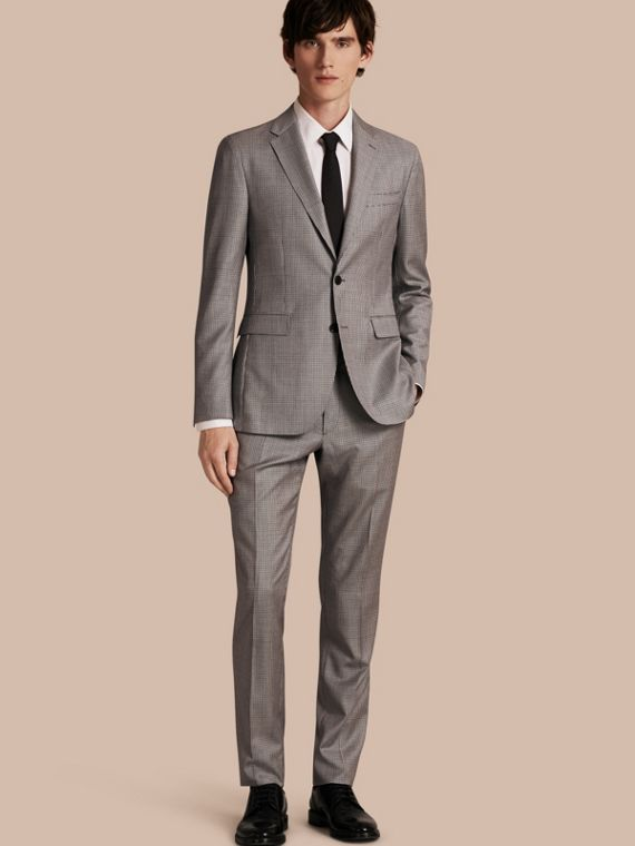 Slim Fit Houndstooth Wool Tailored Jacket in Light Grey