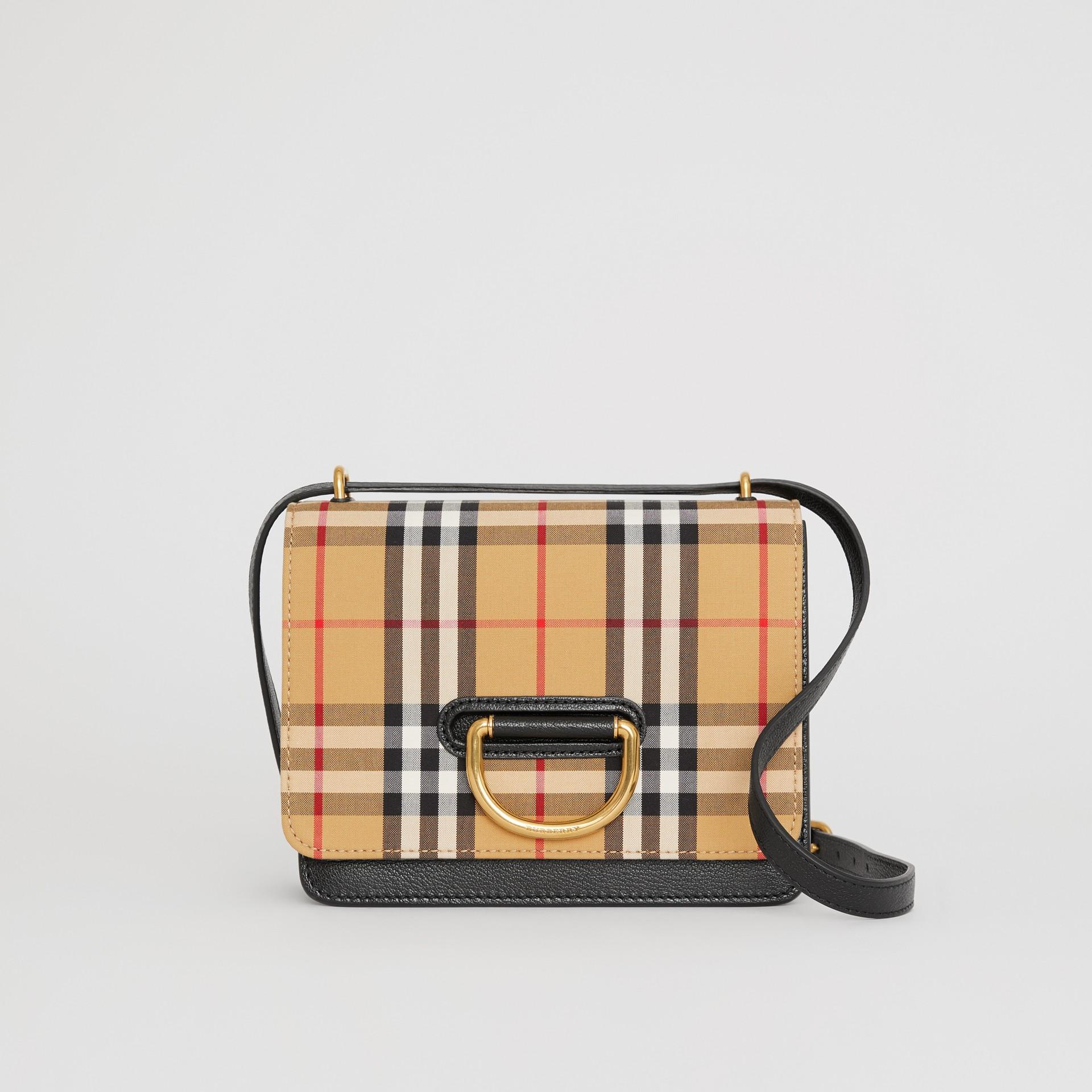 Bolso D-ring pequeño en algodón a cuadros Vintage Checks y piel (Negro / Amarillo Envejecido) - Mujer   Burberry - imagen de la galería 0