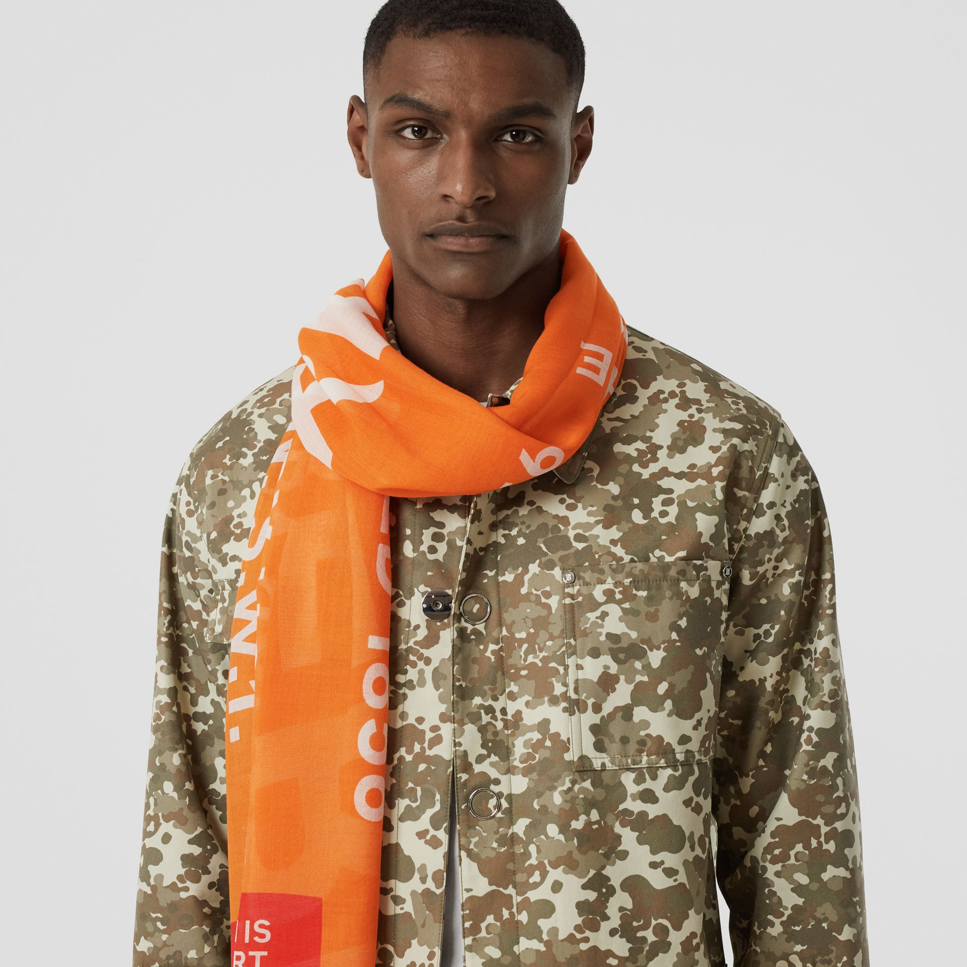Horseferry Print Lightweight Wool Silk Scarf in Bright Orange | Burberry - gallery image 3